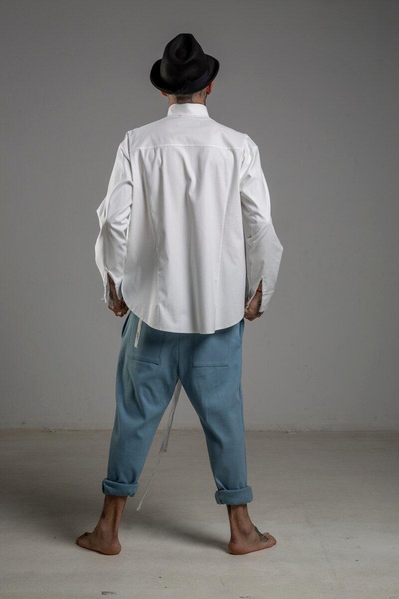 delcane spodnie niebieskie obnizony krok tyl 1cm