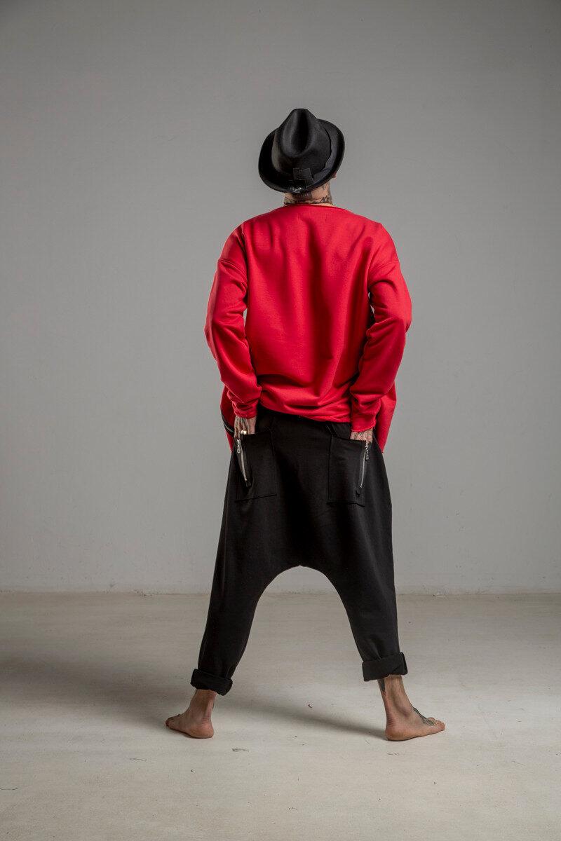 delcane spodnie z obnizonym krokiem czarne tyl 1m