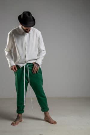 delcane zielone spodnie z obnizonym krokiem przod 2 m
