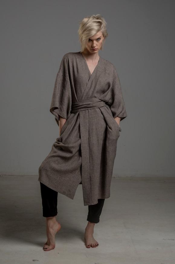 kimono lniane delCace bez Tokyo przod 3m