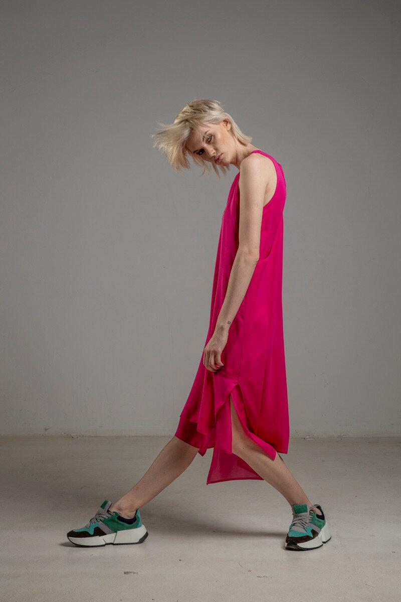 rozowa podwojna jedwabna sukienka bok 2m