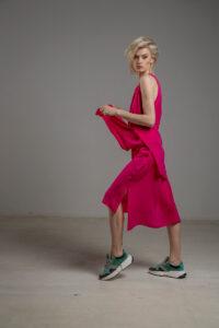 rozowa podwojna jedwabna sukienka bok dwie warstwy 3m