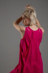rozowa podwojna jedwabna sukienka tyl 1m