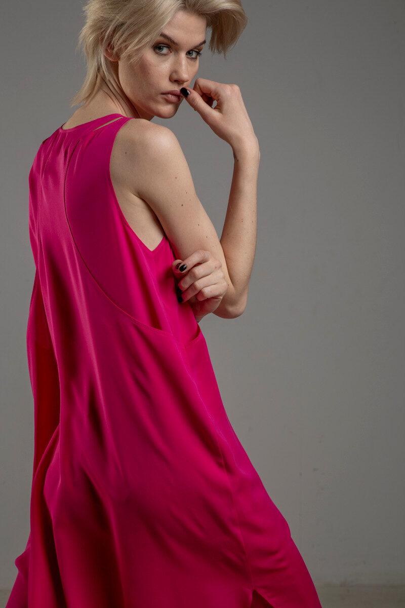rozowa podwojna jedwabna sukienka tyl 2m